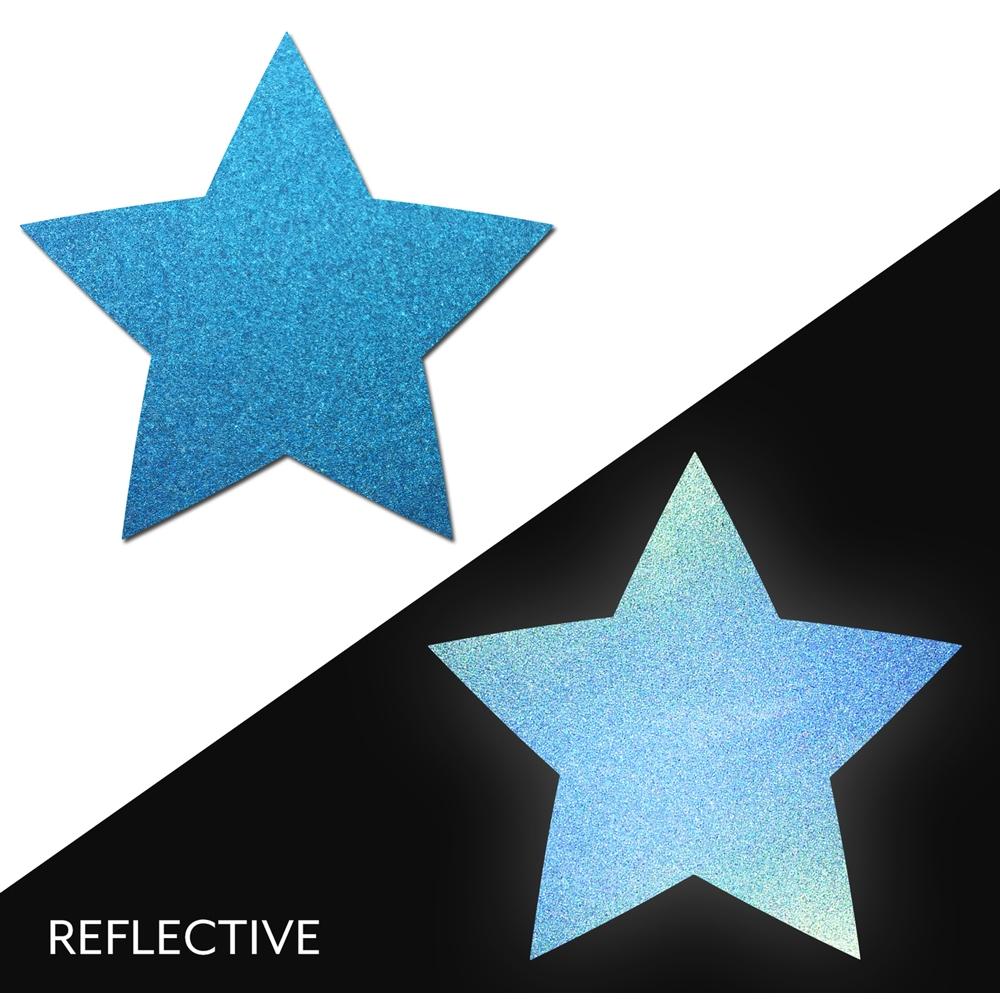 Caches-Seins Réfléchissant Étoile Bleu