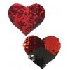 Caches-Seins Cœur Sequins Réversibles Rouge et Noir
