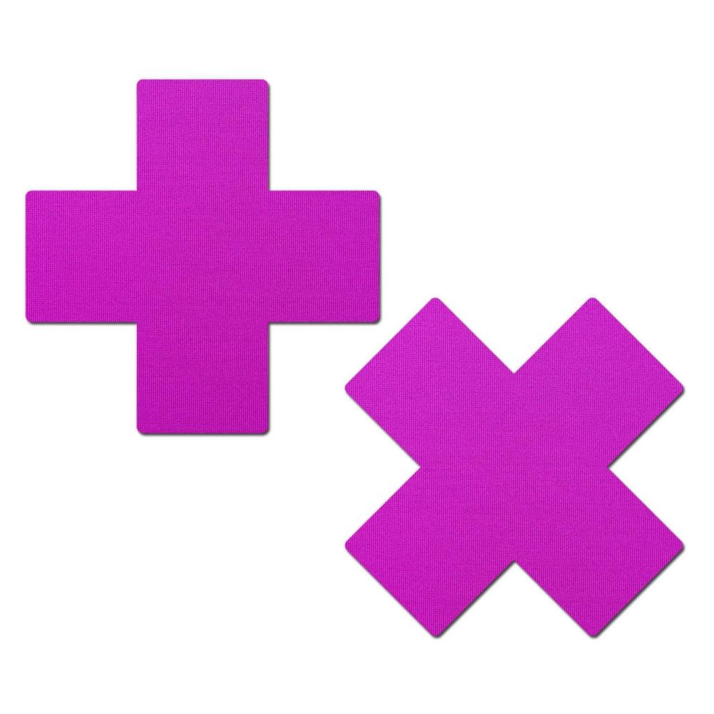 Caches-Seins Croix Néon Violet