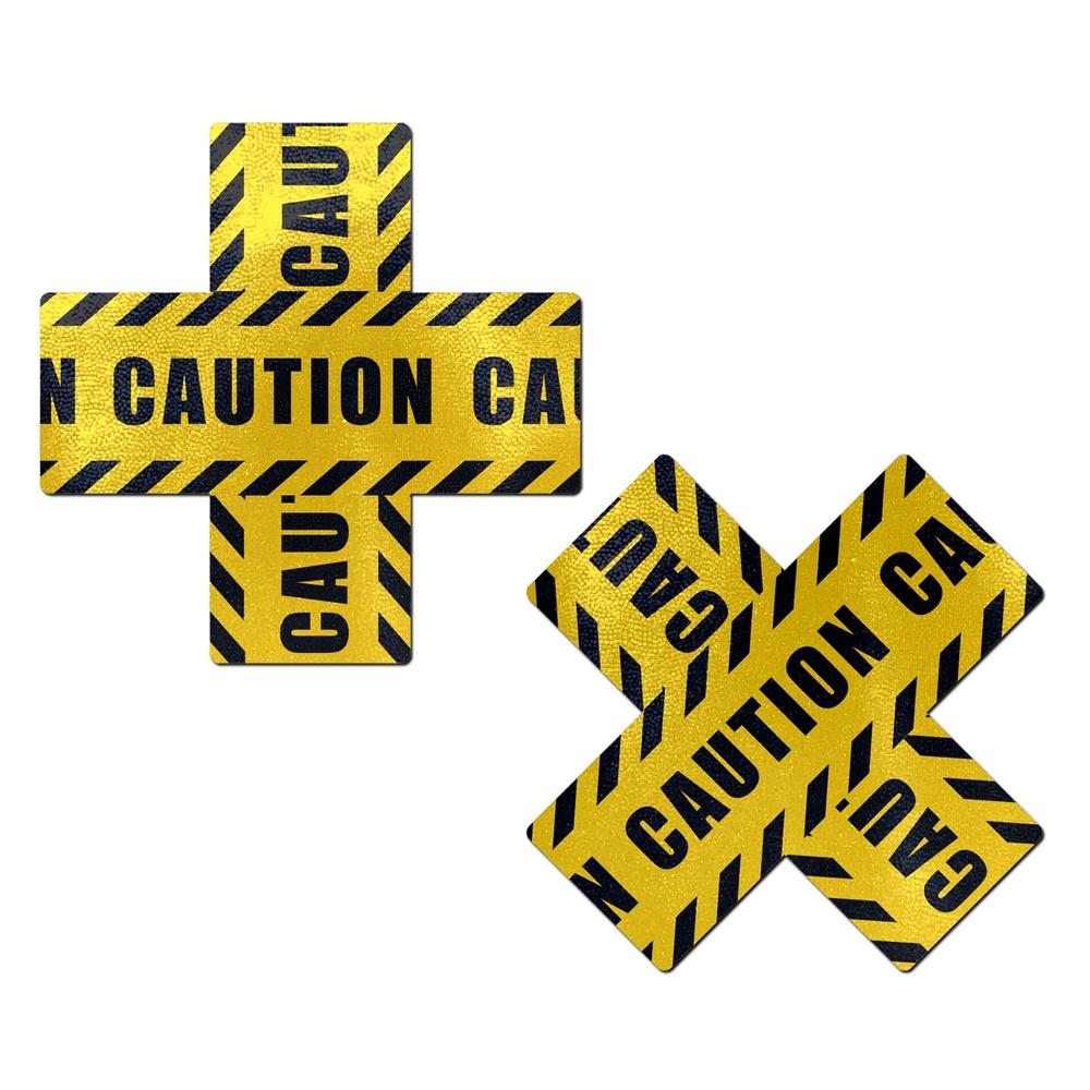 Caches-Seins Croix Caution