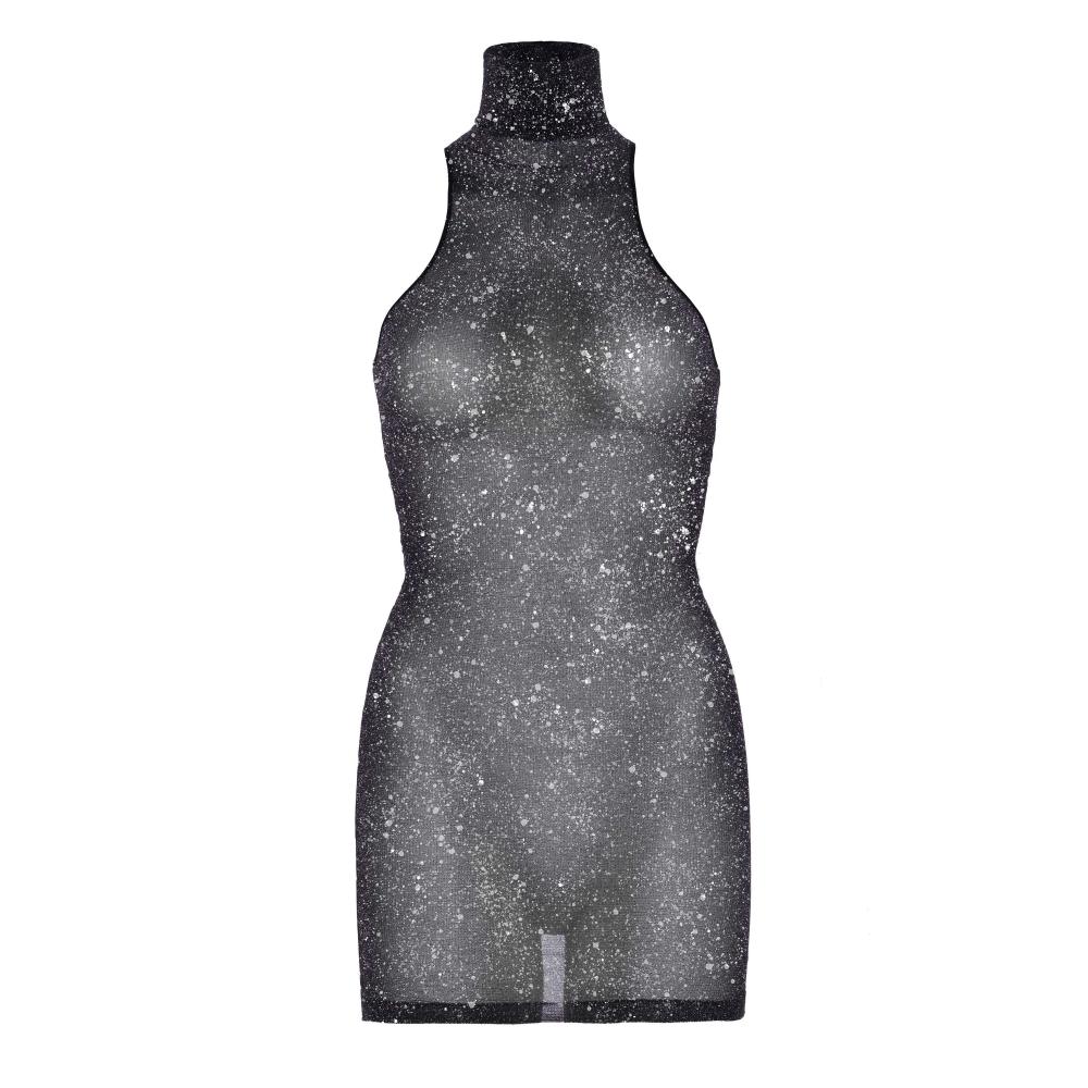 Robe Brillante Col Haut Noir & Argent