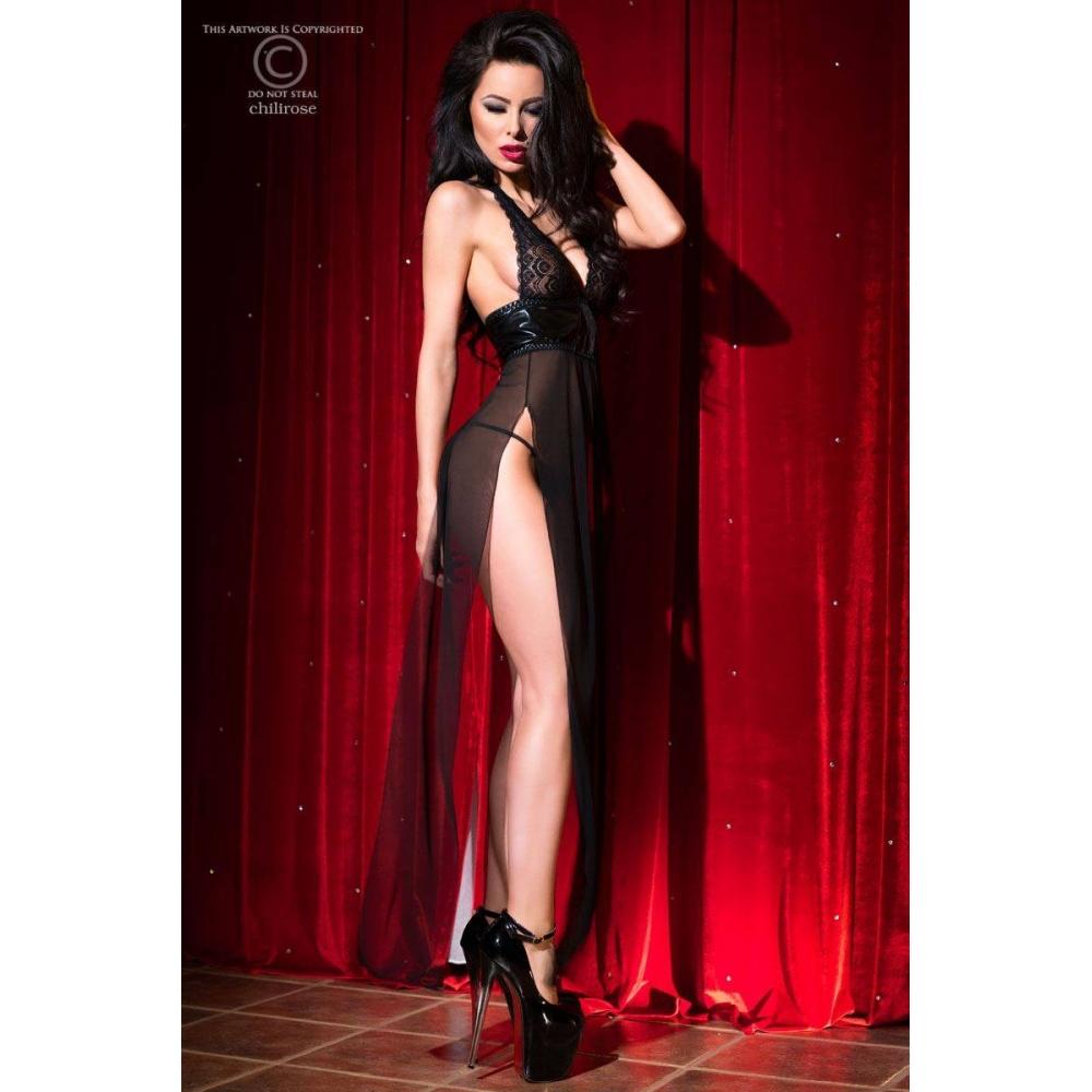 Robe Longue Transparente CR4033 Noir