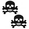 Caches-Seins Têtes de Morts Noires