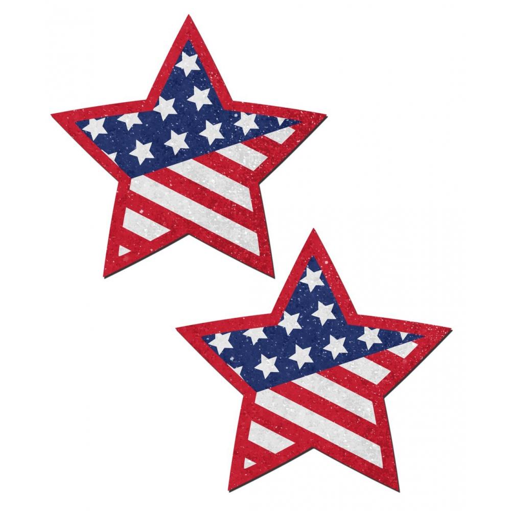 Caches-Seins Étoile Drapeau Américain
