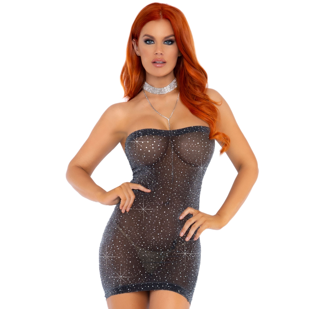 Robe Tube Lurex Transparente Strass