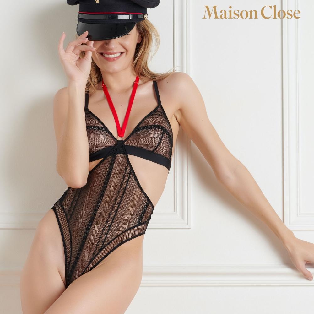 String Taille Haute Harnais Sacré Coeur Noir