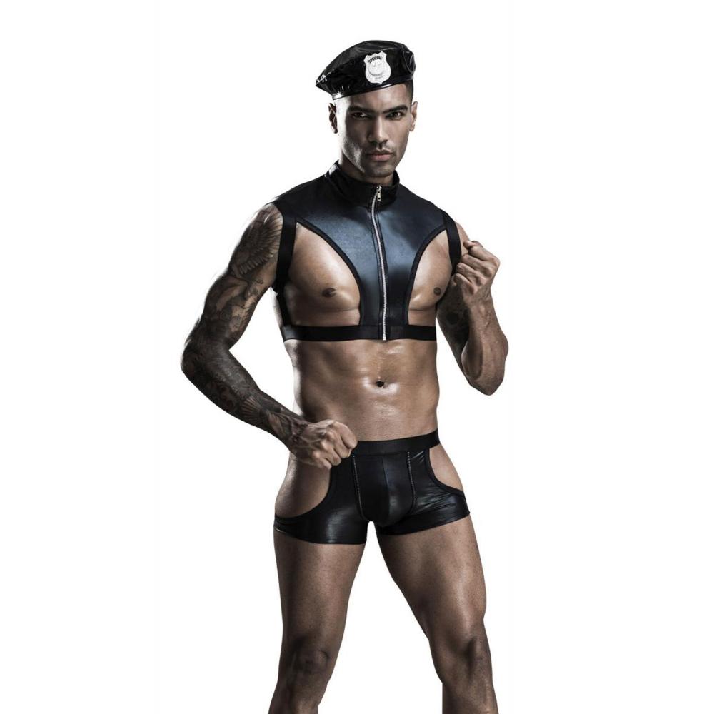 Costume 3 Pièces Policier Sexy Wetlook Noir