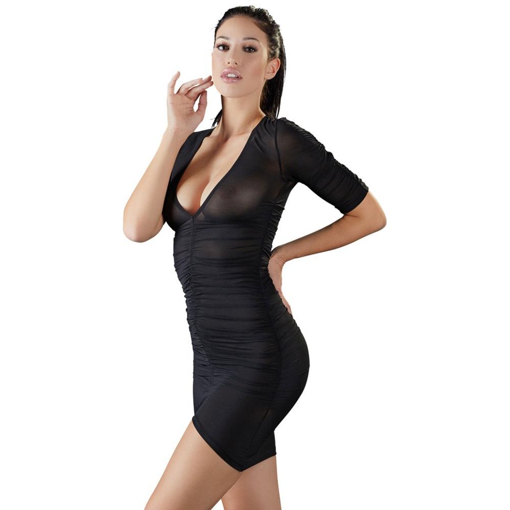 Robe Froncée Transparente Noire